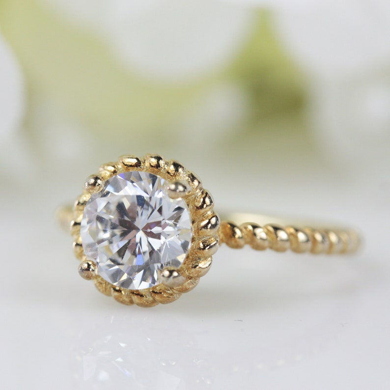 Engagement Ring Round Brilliant Fine Quality CZ Twisted Ring In Gold-Plated Sterling Silver Travel Ring #107 Promise Ring 1.20 Ct