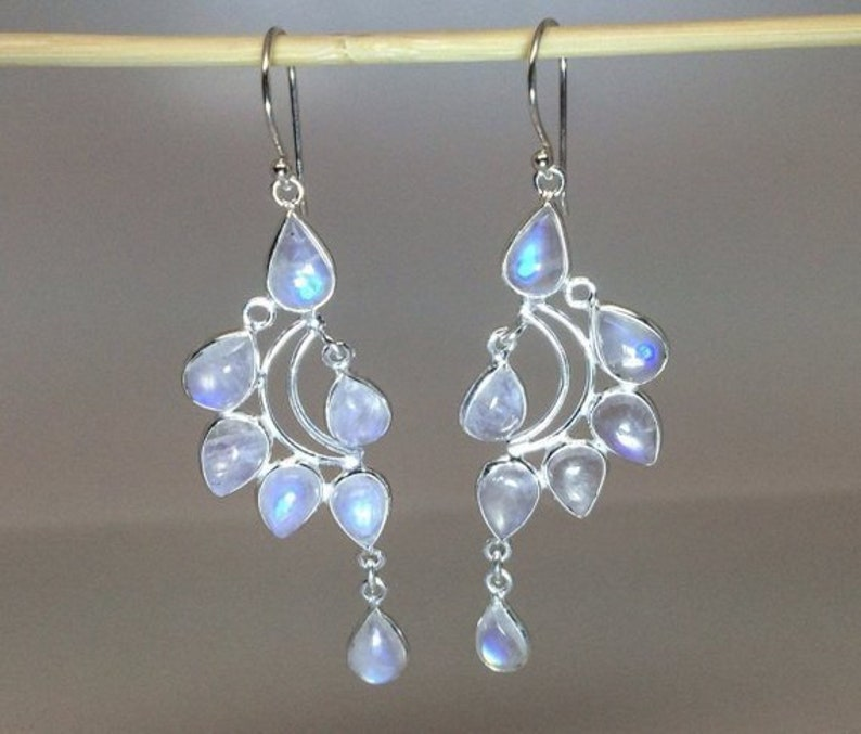 Fancy Natural Glowing Moonstone Chandelier Earrings in Sterling Silver Anniversary Gift Thank You Gift Birthday Gift