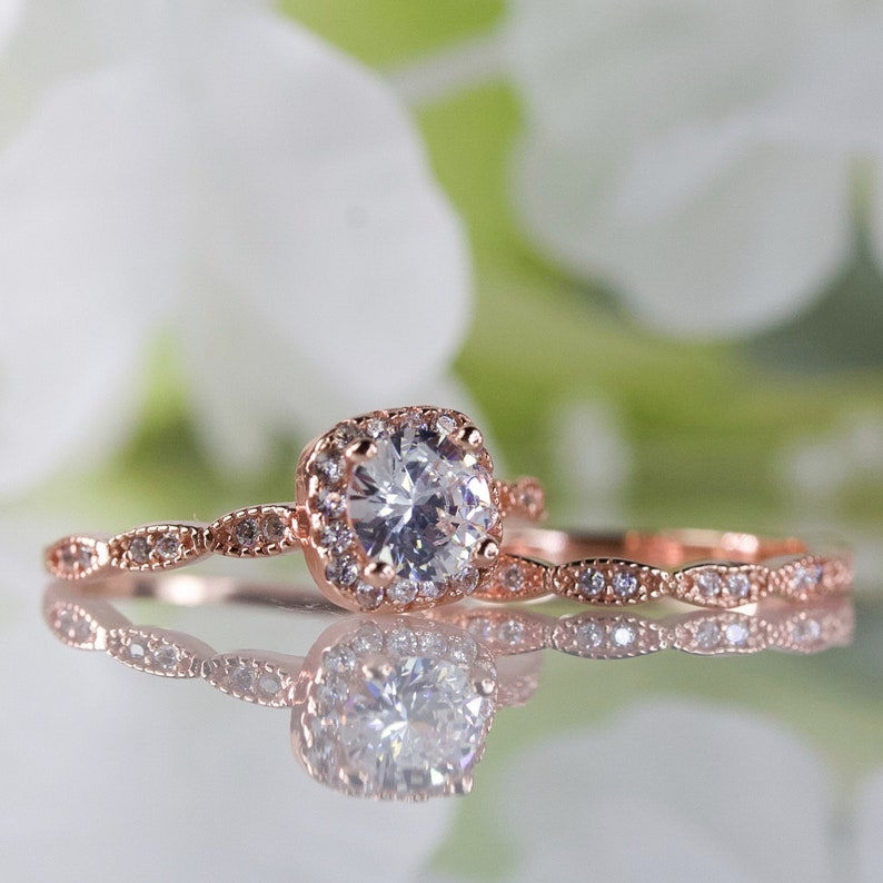 0.50 Ct Cubic Zirconia Halo Cushion Art Deco Style Engagement Ring Set In Rose Gold-Plated Sterling Silver Travel Ring