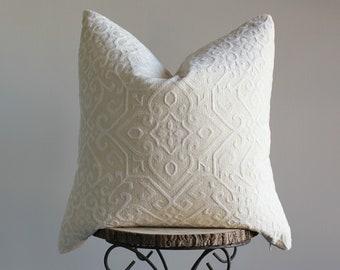 "Cream Chenille-like Decorative Pillow Cover; Pickens Pillow Cover, 22"""