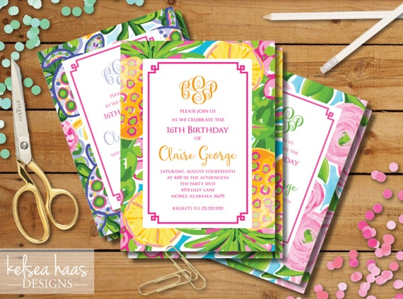Lilly Pulitzer Inspired Monogram Printable Invitation DIY
