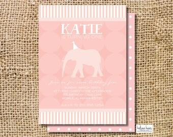 Elephant Theme 1st Birthday Party Invitation Digital Printable, DIY, Girl, Light Pink