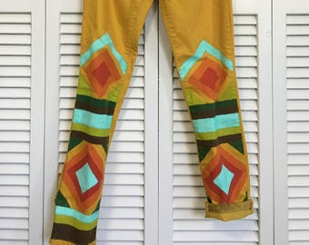 Yellow hand-painted upcycled jeans!