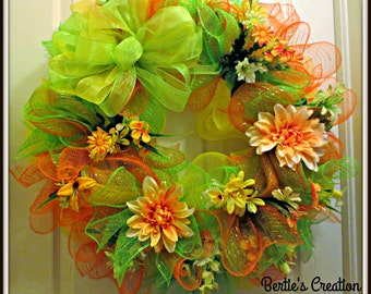 Mesh Door Wreath,Mesh Floral Wreath,Lime and Orange Mesh Wreath,Lime and Orange Floral Mesh Wreath,Polymesh Wreath,Deco Mesh Wreath,Wreath