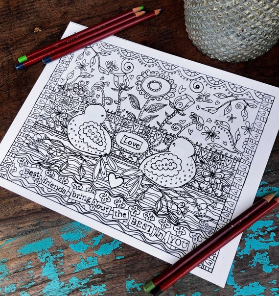 Best Friends Coloring Page Heart Coloring Page Inspire Etsy
