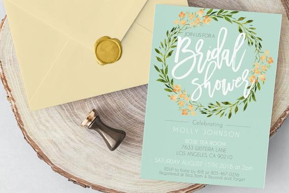 c08f95bc671c42 Printable Floral Bridal Shower Invitation Instant Download