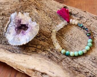 Titanium Druzy, Rutilated Gold Quartz, Chrysocolla, Tassel, Mala Bracelet/Healing/Gemstone/Women's/Yoga Jewelry/Gift/Spiritual Jewelry