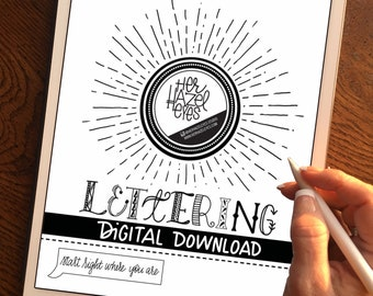 Digital Download with FREE practice sheets. Lettering guide, lettering kit book, Beginners, Learn Hand-Lettering, Modern Brush Lettering