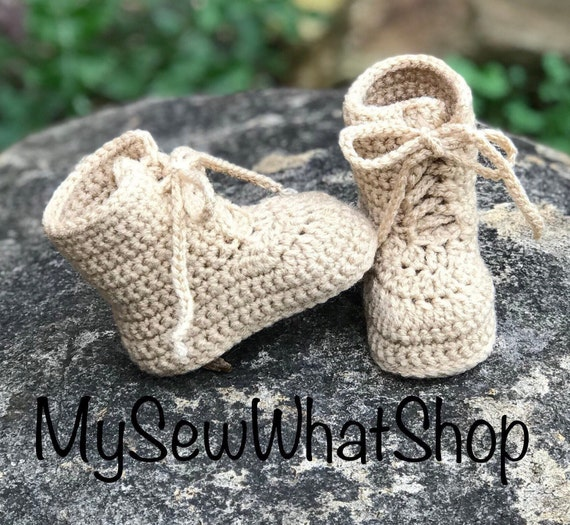705c1f7f5320c Baby Girls or Boys Crochet Army Combat Boot