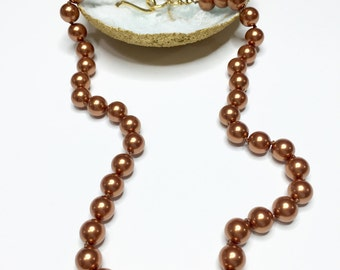 Rust Swarovski Crystal Pearl Knotted Necklace with Gold Clasp