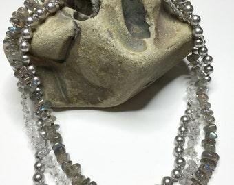 Laboradite / Herkimer / Pearl Choker Necklace