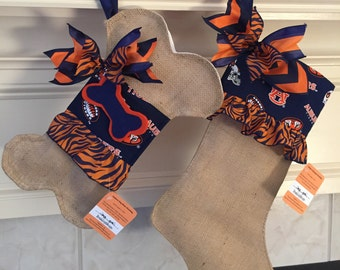 Auburn Burlap Christmas Stocking/ War Eagle