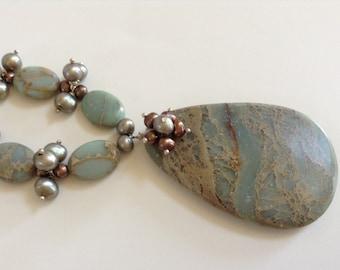 Aqua terra jasper necklace with pearls