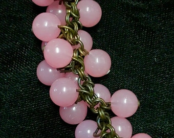 """Vintage Pink Glass Cluster Neckace on Chain, 15"""""""