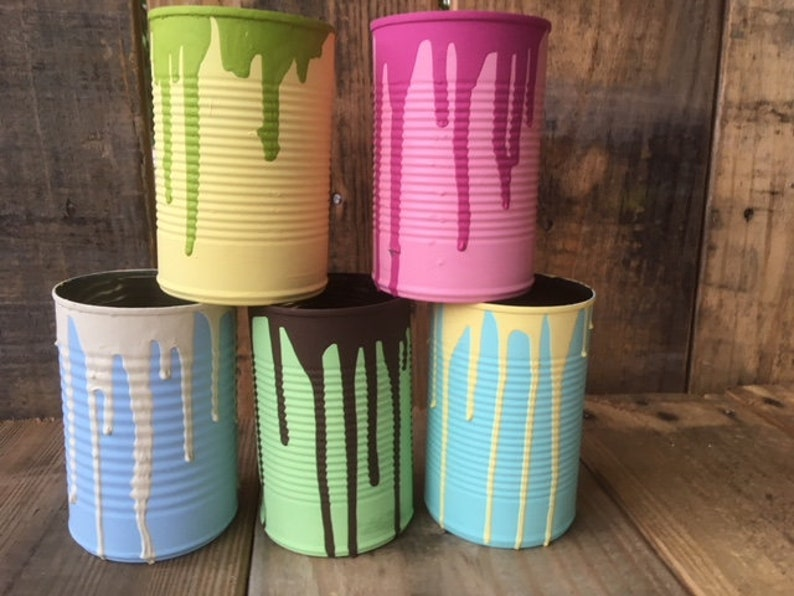 Colorful Drip Tin Cans set of 5