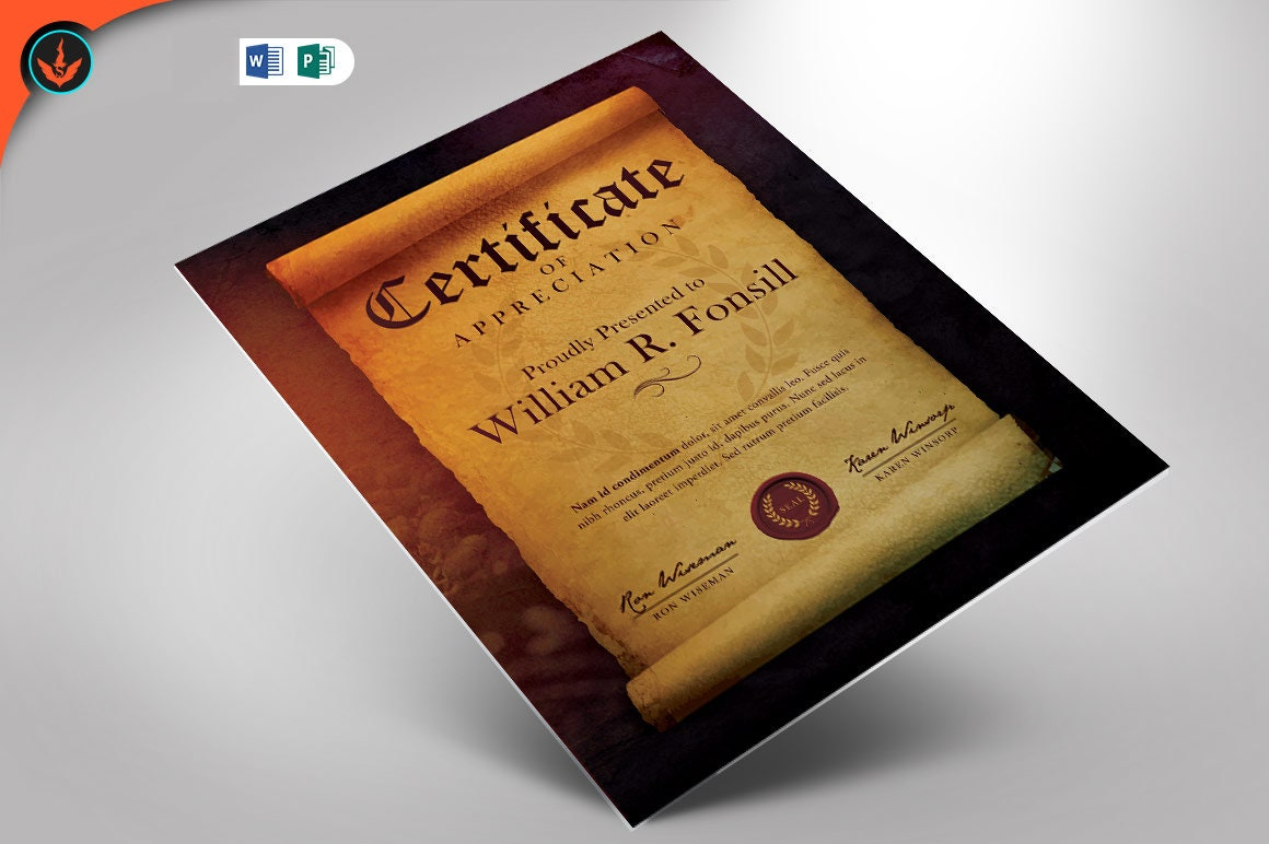 Royal Scroll Certificate Publisher und Word Template (22.22x22 plus 22x22.22) Pertaining To Scroll Certificate Templates