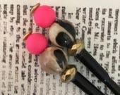 Hot Pink, Gold & Leopard Animal Print Beaded Hairstick Set - Bead Hair Sticks