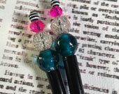 Turquoise, Hot Pink, Silver and Black & White Stripes Beaded Hairstick Set - Bead Hair Sticks