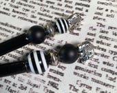 Black & White Stripe with Silver Elephants Beaded Hairstick Set - Bead Hair Sticks