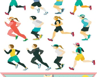 Marathon people,Runners , clipart , clip art , graphic illustration instant download