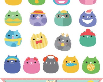 Funny cats  collection , kitten , cute animals clipart , clip art , graphic illustration instant download