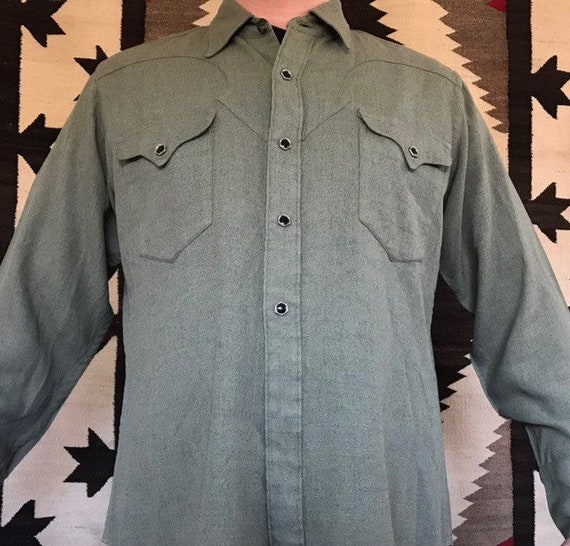 40s western wear gabardine snap button shirt