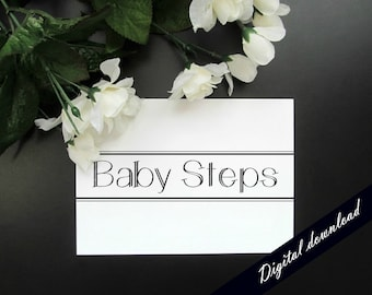 "Baby Steps Printable - Encouragement Motivation Modern Minimalist 5x7"" Print"