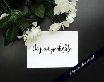 Joy Unspeakable 1 Peter 1:7-9 Printable - Christian Faith Minimalist Simple Modern Wall Decor Bible Verse Quote Print - Digital Download