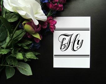 "Custom Black and White Monogram 8x10"" 5x7"" Print - Modern Elegant Initials Print - Cursive Stripes"