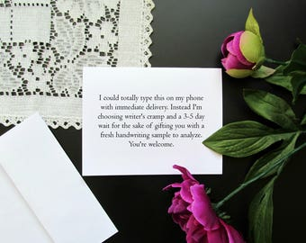 Modern Texting Funny Note Card Stationery - Novelty Sarcasm Stationery Single Card or Pack Set of 5