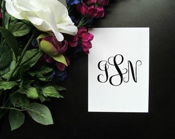 "Custom Monogram 5x7"" 8x10"" Print - Simple Black and White Modern Elegant Cursive Initials Print"