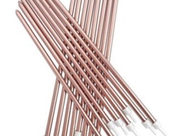 Rose Gold Birthday Candles Metallic Tall 18cm Extra