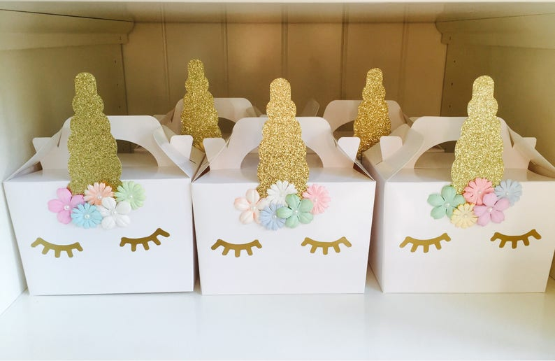 Unicorn party boxes bags favours children's party handmade image 0