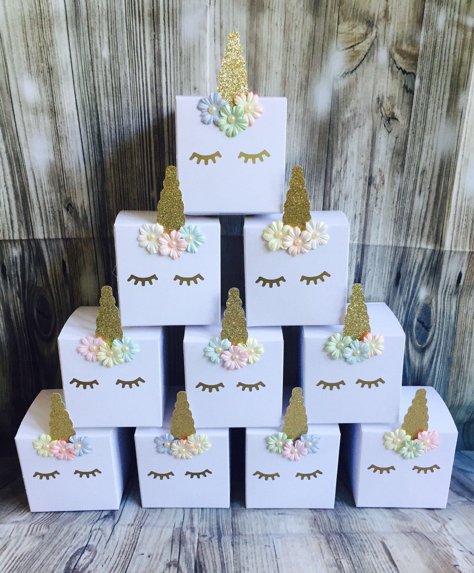 Unicorn Party Favor Boxes for 10 Guests Page Two