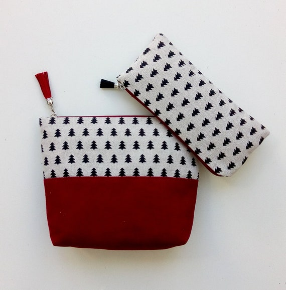 0e1ad86b28a Cosmetic Bag Set Claret Makeup Bag Christmas Gift for Her   Etsy