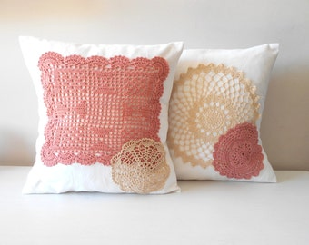 Crochet Pillow Set, Decorative Throw Pillow, Pink Pillow Covers, Doily Pillow, Lace Pillow, Home Decor Pillows, Shabby Chic Decor