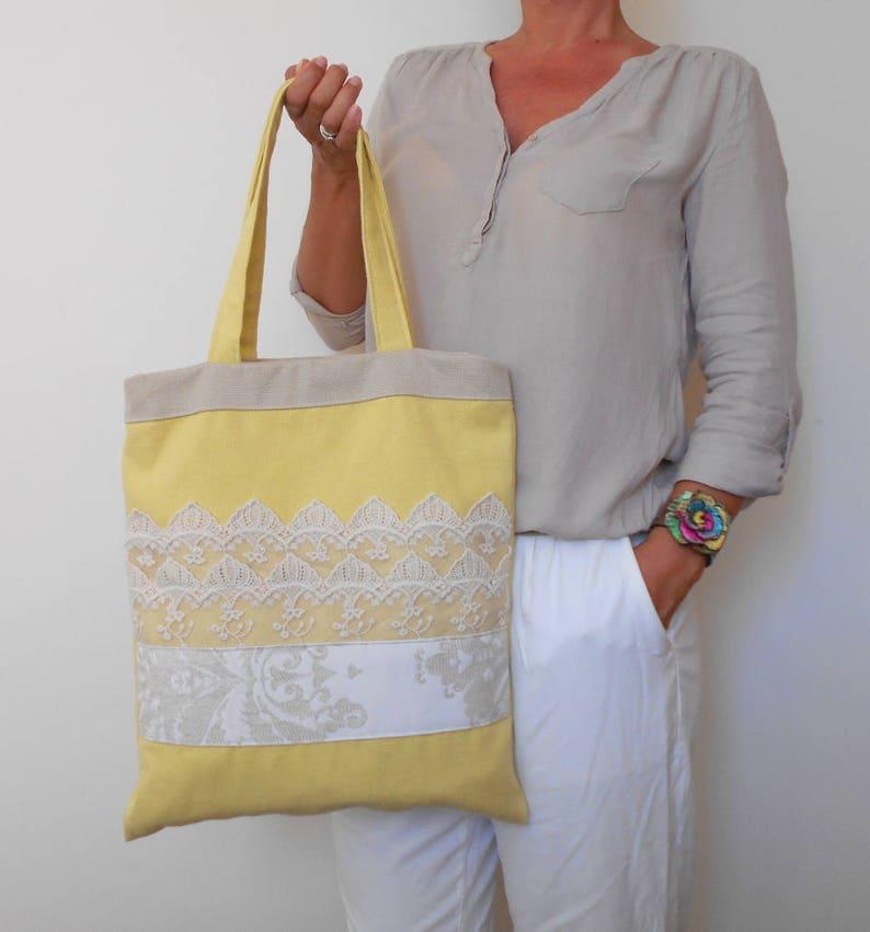2d705a7e420c Yellow Tote Bag Canvas Shoulder Bag Lace Handbag Yellow | Etsy
