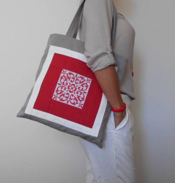 Tote Bag Linen Teacher Books Laptop Bag Zippered Closure Denim Blue Patchwork Quilt