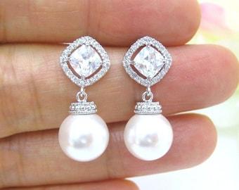 Bridal Pearl Earrings, Wedding Pearl Earrings, Cubic Zirconia Earrings, Bridesmaid Earrings, Birthday Gift, Mother's Day Gift (004)