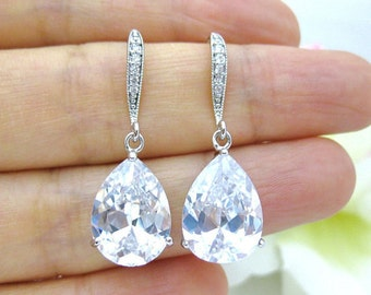Bridal Crystal Earrings Wedding Earrings Cubic Zirconia Teardrop Earrings Bridal Jewelry Bridesmaid Gift Wedding Jewelry (E182)