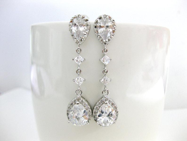 Cubic Zirconia Teardrop Earrings Bridal Drop Dangle Earrings Wedding Jewelry Bridesmaids Gift Sparky Earrings E188
