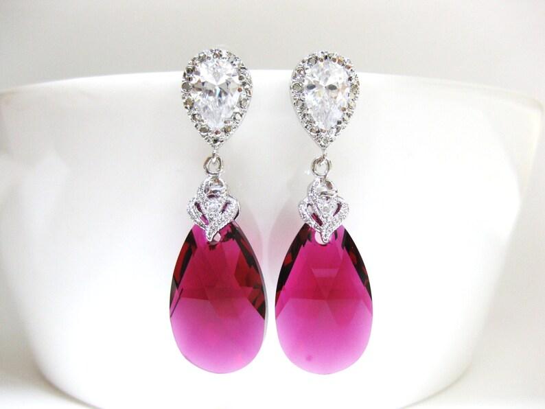 1fdfe696a2ce7 Bridal Ruby Earrings Swarovski Fuchsia Teardrop Earrings Hot Pink Earrings  Cubic Zirconia Earrings Wedding Jewelry Bridesmaids Gift (E038)