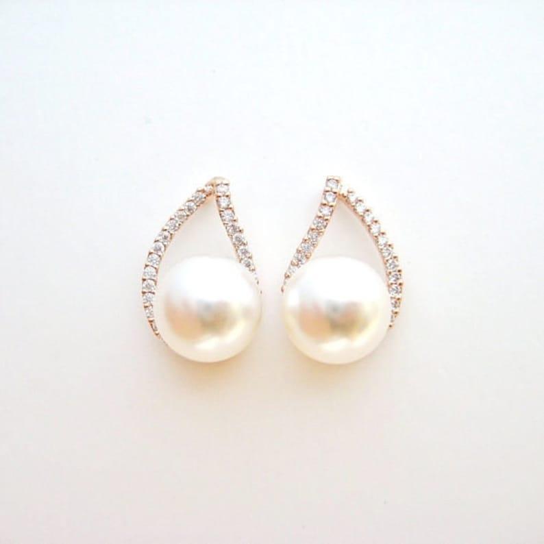 83df109bd Rose Gold Cubic Zirconia Teardrop Earrings Bridal Pearl Stud | Etsy
