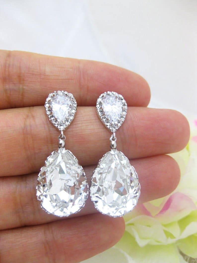 fa774b094e69a Bridal Crystal Earrings Wedding Jewelry Swarovski Crystal Teardrop Earring  Bridesmaid Gift Bridal Party Earrings Drop Bridal Earrings (E008)