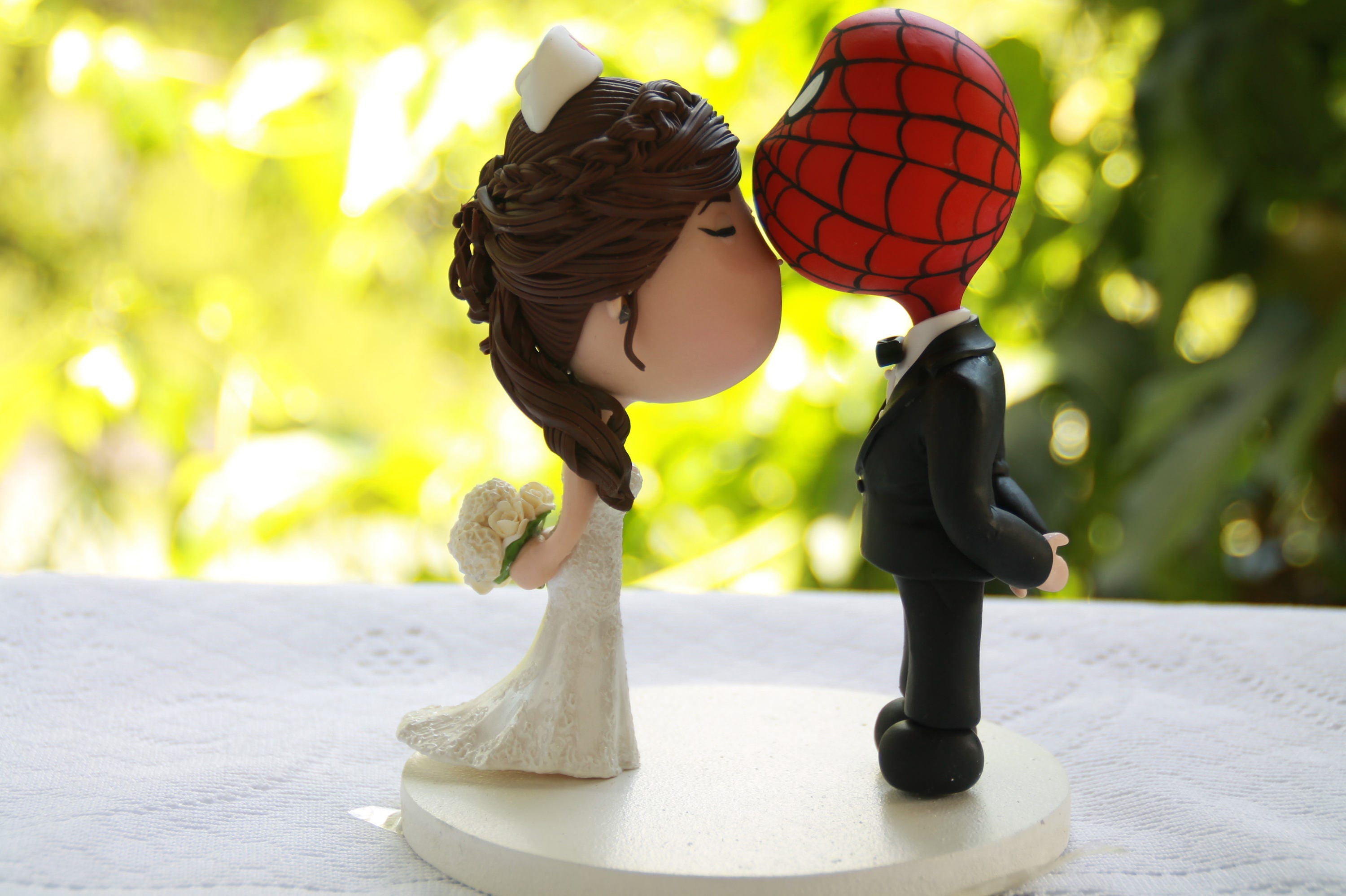Spiderman Groom Nurse bride. Wedding cake topper. Wedding | Etsy