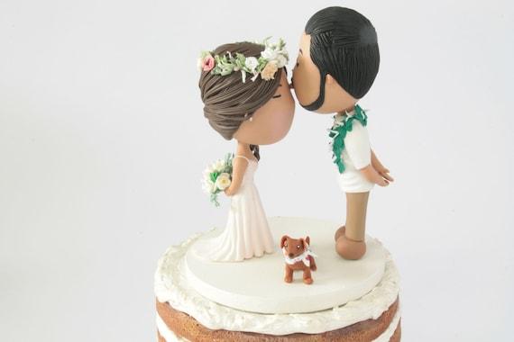 Beso En La Frente Boda Hawaiana Centro De Mesa O Decoracion Para Torta Pastel De Bodas Completamente Personalizado Recuerdo Unico