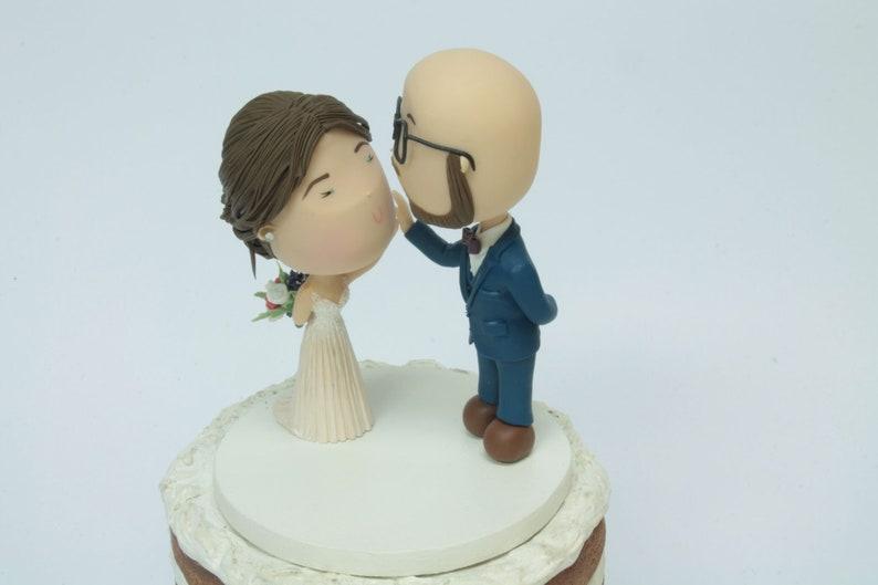 Cute Couple High Five Bald Groom Wedding Cake Topper Beach Wedding Handmade Fully Customizable Unique Keepsake