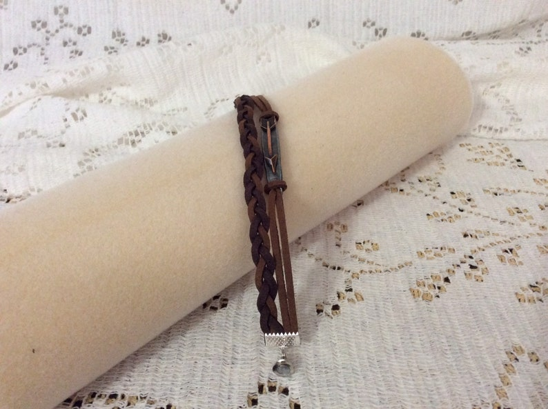 BL-113 BR Arrow and braided leather braclet