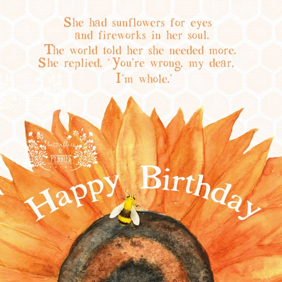 New Happy Birthday Sunflower Watercolor Modern Stamp Etsy