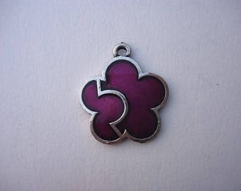 Color Purple enameled metal flower charm